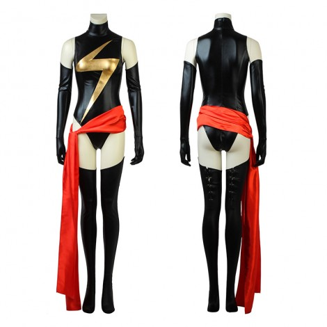 Captain Marvel Costume Carol Danvers Black Thunder Logo Jumpsuit Cosplay Costumes