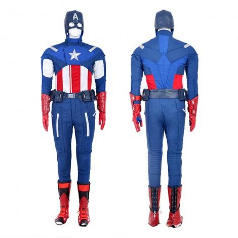 Marvel Avengers Captain America Steven Steve Rogers Cosplay Costume Deluxe Outfit
